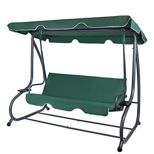 Montafox 4-Sitzer Hollywoodschaukel Gartenschaukel klappbar mit Bettfunktion mit Sonnendach und Liegefunktion für 4 Personen, Farbe:Galapagosgrün