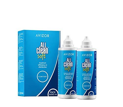 Líquido de lentillas AVIZOR All Clean Soft. Solución única para limpieza y desinfección de todo tipo de lentes de contacto blandas. 2 x 350 ml