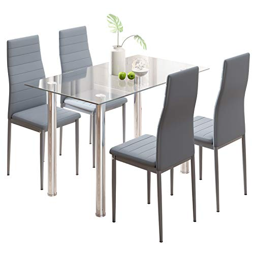 Dining Table and Chairs Set 4, Glass Kitchen Table and 4 Grey Faux Leather High Back Padded Chairs Modern Furniture Sets for Dining Room, Kitchen, Home, Office