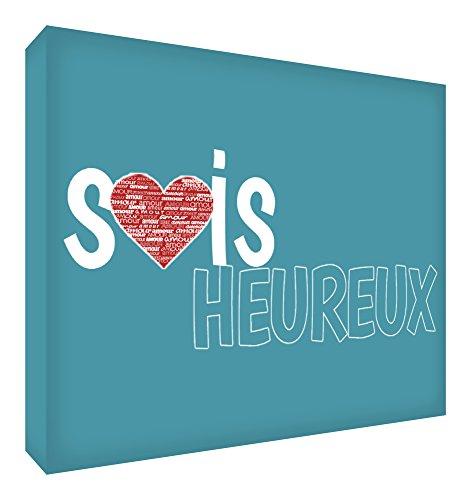 Feel Good Art Sois Heureux Bloc Décoratif en Acrylique Transparent Poli comme Diamant Vert Canard 10,5 x 7,4 x 2 cm