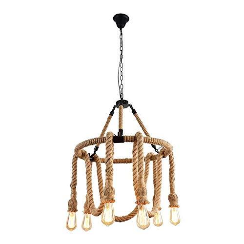Lámpara De Techo Lámpara Colgante Luces Retro Cuerda De Cáñamo Industrial Lámpara Colgante Lámpara De Metal Cuerda Lámpara Colgante Sala Comedor Bar Balcón (Bombillas No Incluidas)