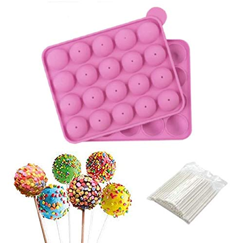 20 Cavity Cake Pop Mold Silicone Baking Set, Pink Cake Pop Maker with Pop Stick