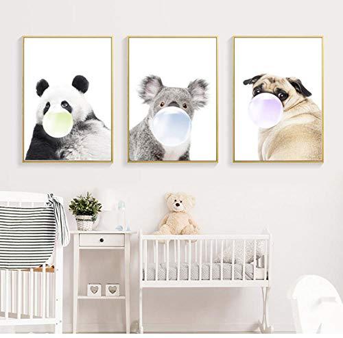 QAQA Posters Koala Panda Hond Bubble Kauwgom Muur Dieren Pai Baby Kwekerij Ation Geschenken 50cm*70cm Hebben frame