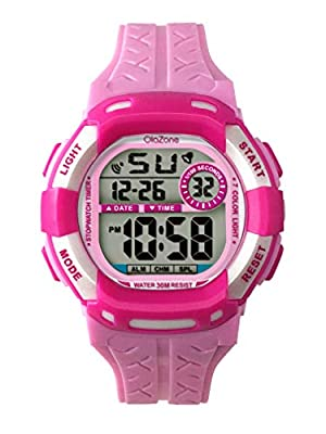 Kids Watches Girls Boys Digital 7-Color Flashing Light Water Resistant 100FT Alarm Gifts for Girls Age 7-10 485 (Pink)