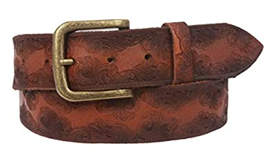 Snap On Soft Hand Floral Embossed Vintage Cowhide Full Grain Leather Casual Belt, Tan | 30