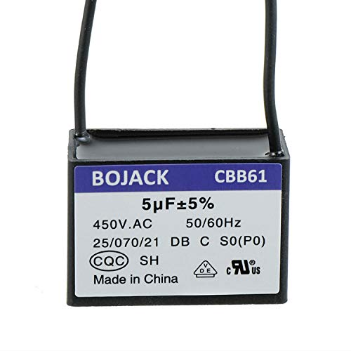 BOJACK CBB61 Condensador de arranque de ventilador de techo de 5 uF 450 VAC compatible con Harbour Breeze y New Tech 2 cables (paquete de 1 pieza)