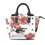 IUBBKI bolso de mano pájaro rojo rododendro de cuero genuino bolso con remaches correa de hombro con asa superior para mujer