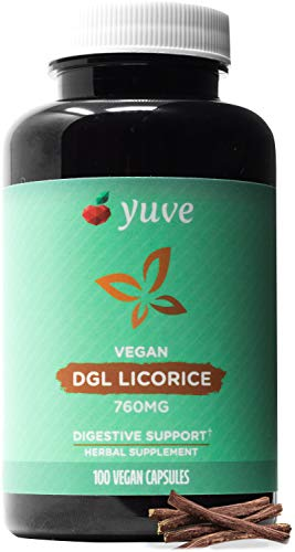 Yuve Vegan DGL Licorice 760mg - Ultra Pure Deglycyrrhizinated Licorice Root Capsules Supplement - Support Stomach, Gut & Intestinal Relief - Natural Acid Reflux Formula - Non-GMO & Gluten Free - 100ct