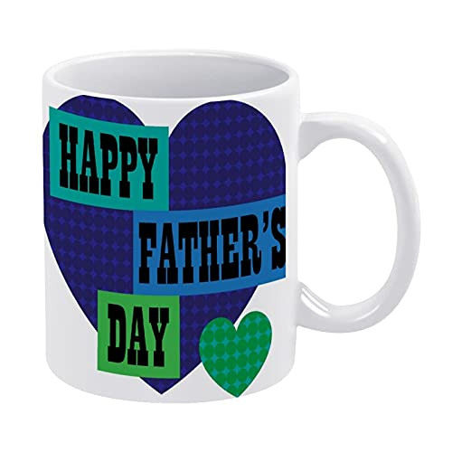 CICIDI Taza de café Happy Fathers Day con diseño de corazón de lunares azules, regalo para hombres o mujeres, taza de cerámica de 15 onzas
