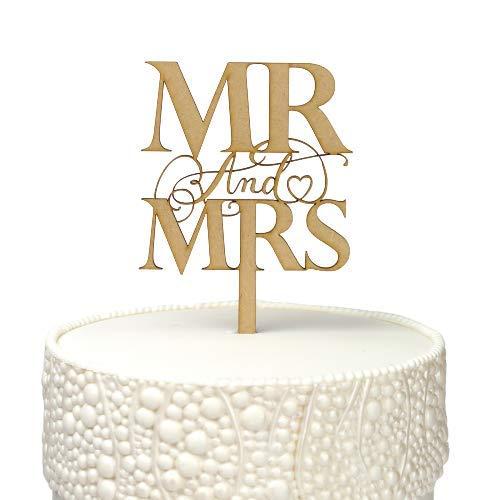 Elegante Mr & Mrs Houten Taart Topper (Long Pick)