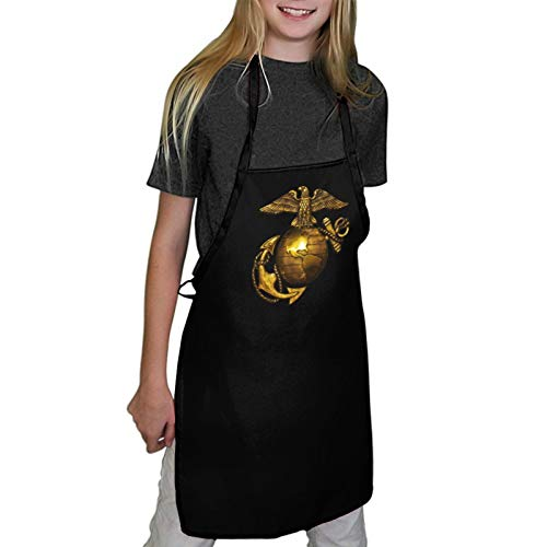 Laiyang Eagle Globe Anchor Children's Apron Professional Cooking Apron Adjustable Neck Strap Waterproof and Oilproof Best for Cooking, Grilling,Painting Graffiti, Housework