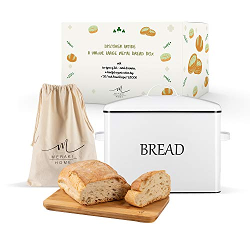Bread Box for Kitchen Countertop with 2 Lids - Metallic Lid Bamboo Lid - Large Bread Storage 13x95x7 Holds 2 Loaves - Bread Bin Ventilation Holes - White Bread Box - Xlarge Bread Bag