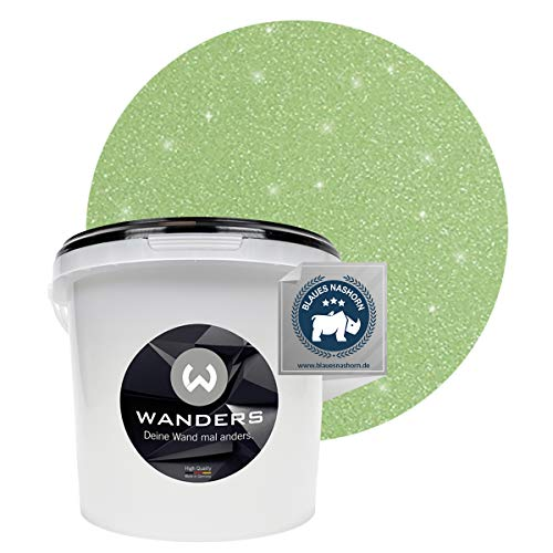 Wanders24® Glimmer-Optik (3 Liter, Silber-Jade) Glitzer Wandfarbe - Wandfarbe Glitzer - abwaschbare Wandfarbe - Glitzerfarbe - Made in Germany
