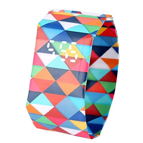 CMTKJ Dupont - Reloj de pulsera de papel con diseño de cuadrados de colores, reloj de pulsera para el día de San Valentín, visualización de la hora digital