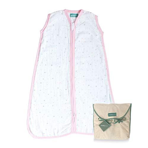 molis&co. Saco de Dormir para bebé 100% algodón. Ideal para Verano (0.5 TOG). Suavidad y frescor en una sola capa de tejido. Ideal para los meses de verano. 0 a 6 meses. Rosa, Pink sky.