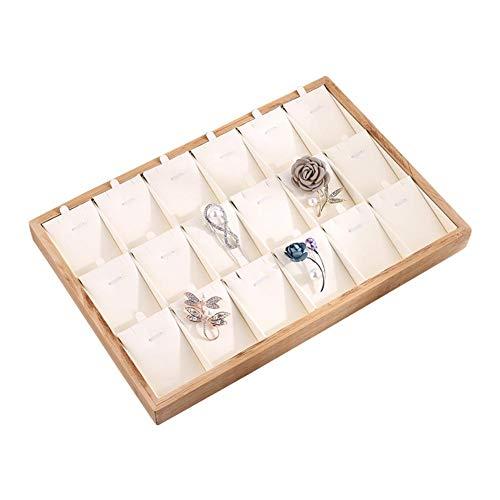 niyin204 Bandeja de exhibición de la joyería apilable multifunción bambú anillo de madera pendiente bandeja escaparate exhibición pulsera collar joyería organizador - 35243 cm todos los días