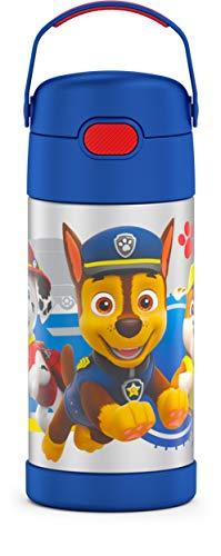 THERMOS Garrafa de canudo infantil Funtainer de aço inoxidável com isolamento a vácuo de 355 ml, Blue Paw Patrol