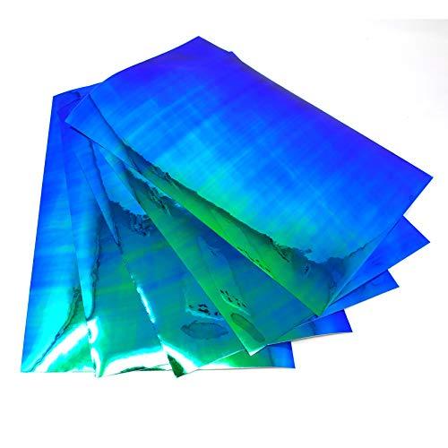(28,54€/m²) 5X Din A4 Bogen Bastelfolie Flipflop Chrom Hologramm Chamäleon Effektfolie Künstlerfolie Plotterfolie Basteln DIY FF4 (Blau/Grün, 5 Stück)