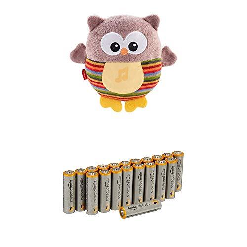 Fisher-Price Mon Hibou Lumineux peluche bébé musicale et lumineuse, dès la naissance, CDN55 avec les batteries Amazon Basics