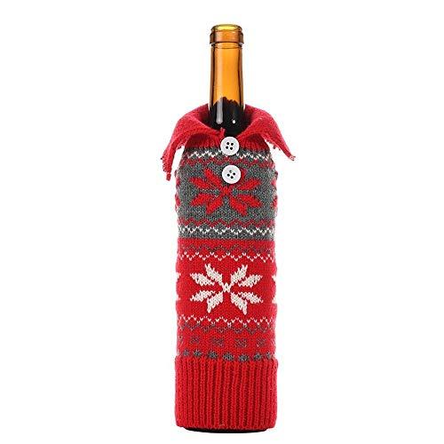 Khxypm 86 3 Stück/Lot Barbara Ho Pui Neue Weihnachten Schneeflocke Knopf Set Weinflaschenhülle Kreative Weinflasche Abdeckung Taschen Kleidung Prop, Stoff, B, 10 * 30cm