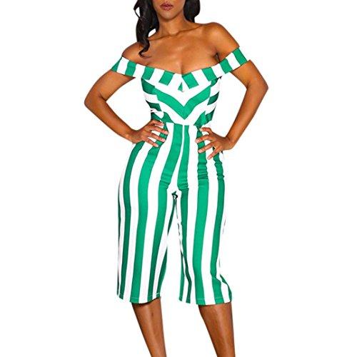 RAISINGTOP Women Sexy Off Shoulder V-Neck Striped Printed Strapless Wide-Leg Pants Jumpsuit Rompers Elegant 3/4 Length (Green, XL)