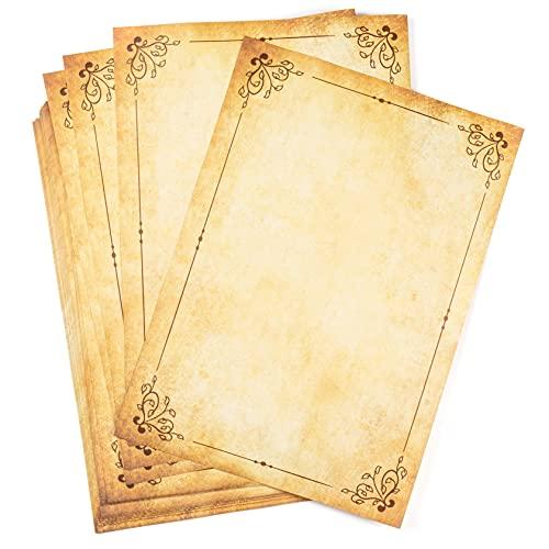 25 hojas DIN A4 Papel pergamino antiguo con Marco vintage, Doble Cara, alto gramaje 120g/m², bonito Envejecido, Escribir, Imprimir, Manualidades, Carta, recortes, scrapbook, invitaciones boda