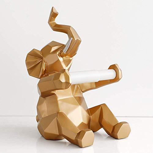 Desktop-Skulptur Tierwand Skulptur, Figur Säugetier Statue Technologie Schmuck Rollenpapier-Halter Schlafzimmer Office Restaurant Hanging Papier/Kuh Tierwandskulptur (Color : Elephant Gold)