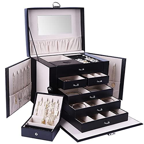 Deyooxi Joyero Grande, Joyeros Mujer Organizador, Caja Joyero Viaje Jewelry Box con Cerradura 5 Cajones, con Espejo, con Caja de Joyería de Viaje Mini, para Collares Pendientes Aretes Pulseras