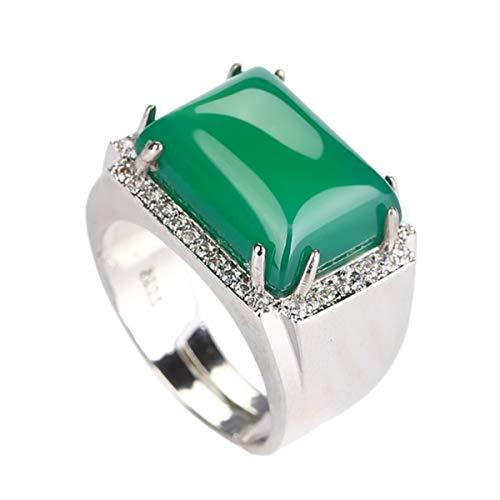 yigedan Anillo de jade verde natural cuadrado 925 círculos de dedo de plata ajustados