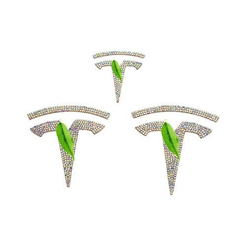 NMDNNJ Adecuado para Tesla Model3, Logotipo del Frente/Maletero del automóvil, Logotipo del Volante, Ruedas, Cristales, Diamantes