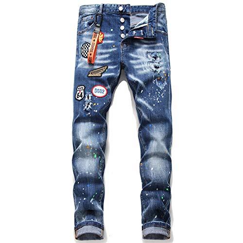 Segindy Pantalones Vaqueros Rasgados para Hombre Parche de Moda Estiramiento Delgado Tendencia Personalidad Pintura de Salpicadura Costura Pantalones de Mezclilla Rectos Lavados 34