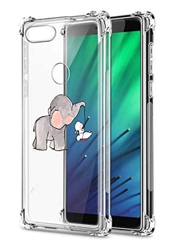 Oihxse Crystal Coque pour Xiaomi Redmi 6A Transparent Silicone TPU Etui Air Cushion Coin avec Motif [Elephant Lapin] Housse Antichoc Protection Bumper Cover (A6)