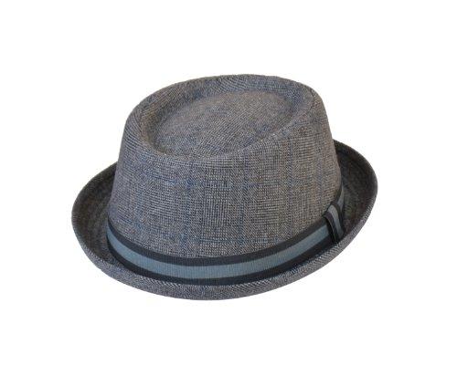 Hawkins - Chapeau Mambon Pork Pie Unisexe Adulte en Tweed - Gris/Bleu, M-L