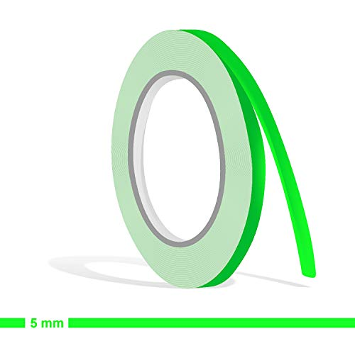 Siviwonder Zierstreifen neon grün in 5 mm Breite und 10 m Länge für Auto Boot Jetski Modellbau Klebeband Aufkleber Dekorstreifen neongrün Fluor