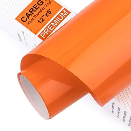 CAREGY Iron on Heat Transfer Vinyl Roll HTV 12 x5 Orange product image
