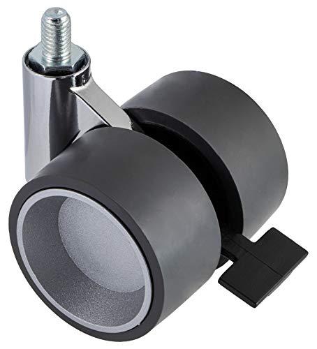 Gedotec Design Doppel-Möbelrolle Lenkrollen mit Bremse aus Kunststoff - GEKO | Rollen-Ø 60 mm | Tragkraft 80 kg | Transportrollen mit Bauhöhe 80 mm | 1 Stück - Rolle mit Gewinde-Stift M10 x 15 mm