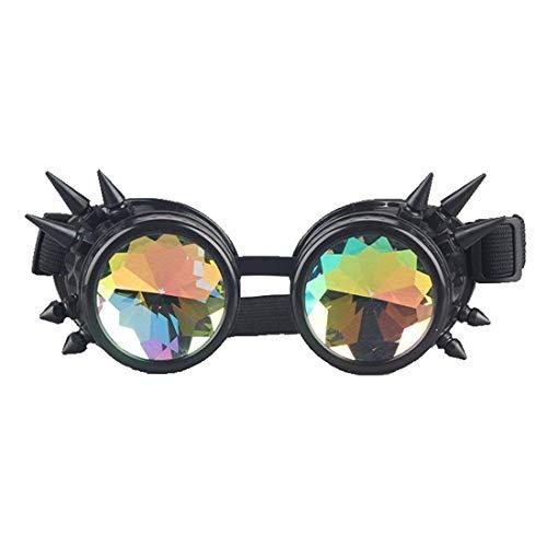 LANGING Kaleidoscope Rave Regenbogen-Brille mit Kristallgläsern, Steampunk