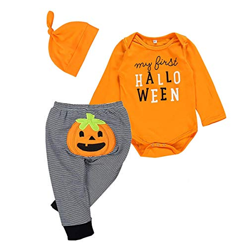 Toddler Infant Baby Boy Girl Halloween Pumpkin Costumes Sleeveless Romper Outfit with Hat (0-3 Months, 3Pcs Halloween Pants Set)