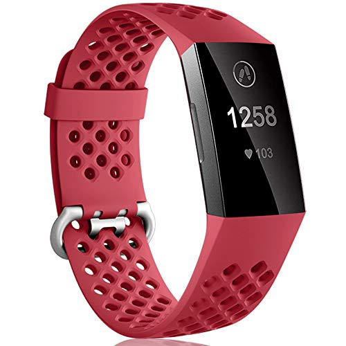 Dirrelo Compatible con Fitbit Charge 3/Fitbit Charge 4 Correa, Reemplazo Ajustable de Silicona Deportiva Transpirables Pulsera para Fitbit Charge 3 SE, para Mujeres Hombres, Rojo S