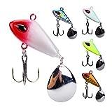 GuanRen 5pcs Set Metal Spinner Fishing Lure Rattlins Vibrotail para Pesca Spinnerbait Cuchara 7G 12G 18G 23G Tackle Wobblers Perch (Color : Rosado, Size : 5pcs 7g)