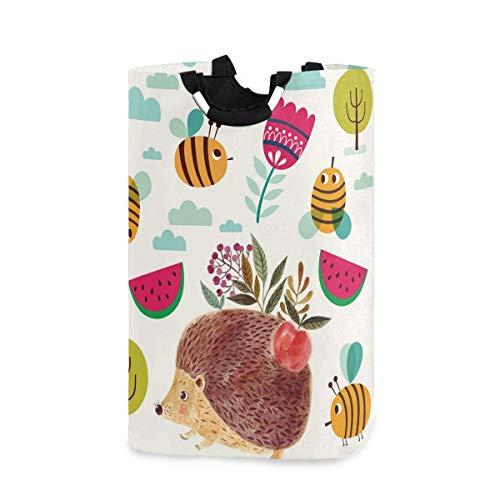 TEGUJ Cesta para la colada con diseño de abejas erizos con forma de abeja de erizo plegable para la colada