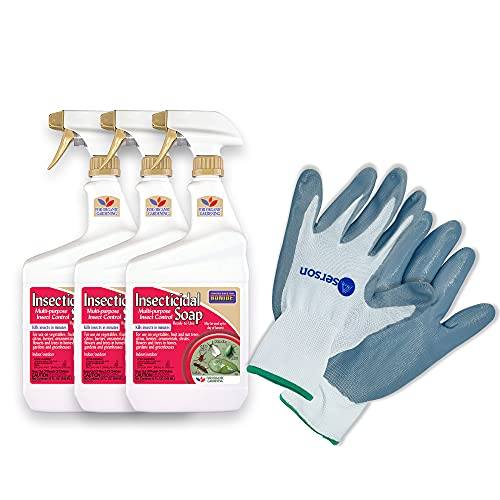 Bonide Insecticidal Soap Ready-To-Use, 32 oz [Pack of 3] Bundle with Aserson Nitrile Gloves