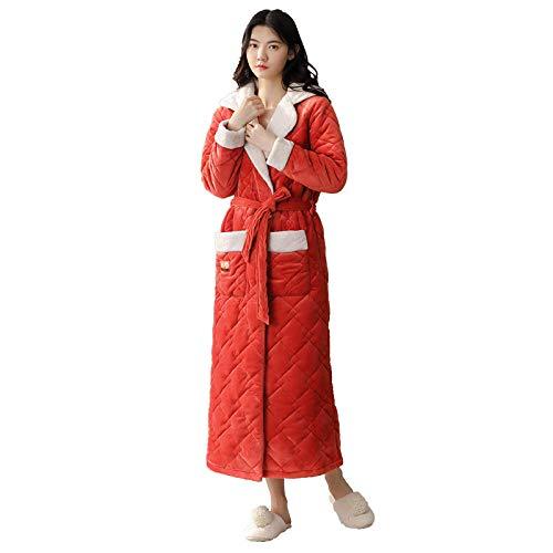 Bata Ropa de Dormir esponjosa,Bata de Mujer Super Suave,Albornoz casero cálido, Albornoz Laminado Grueso-Rojo_L