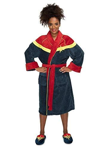 Groovy Captain Marvel Damen Bademantel aus Fleece, Marineblau, Einheitsgröße 124022495