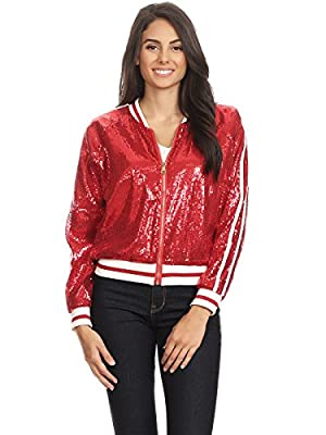 Anna-Kaci Womens Long Sleeve Front Zip Track Stripe Sequin Bomber Jacket, Red, Large by