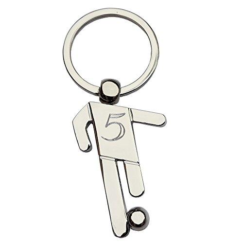 Schlüsselanhänger Fußballer/Fußball/Fussball mit SOFORTGRAVUR +VORSCHAU : Gravur Rückennummer/Vorname oder Datum Metall Hochglanz poliert