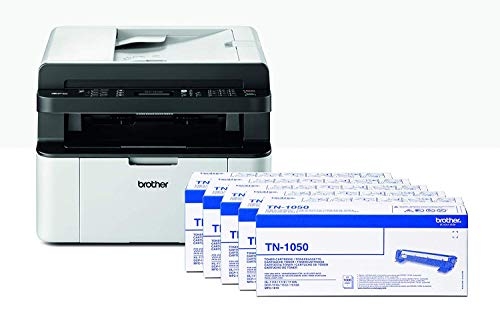 Brother MFC1910W Stampante Multifunzione Laser, Bundle All in Box con 5 Toner Originali Inclusi, Wi-Fi, Bianco e Nero