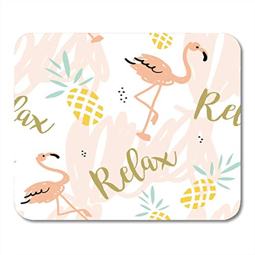 Mouse Pads Blush Pink Flamingo Pineapples and Message Relax on Pastel Strokes Tropical Bird Fruit Mouse Pad Mats 9.5