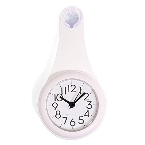 MRKE Wanduhr Wasserdicht, Geräuschelose Nicht Tickende Wanduhr Badezimmer Badezimmeruhr Uhrzeit Uhr mit Saugnapf, Weiß