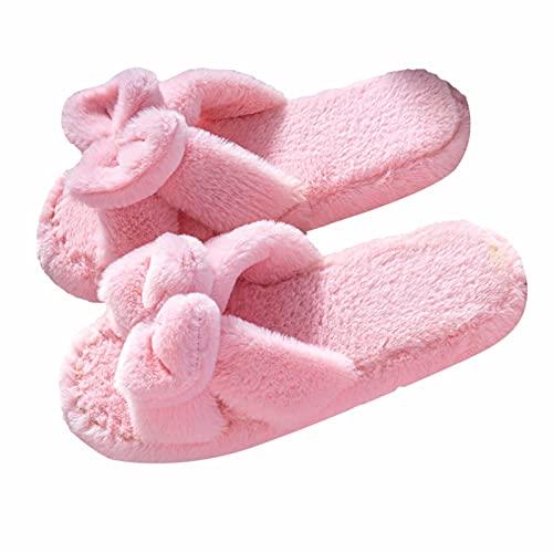 Offener Zeh Hausschuhe Damen Plüsch: Weicher Boden Flauschige Pantoffeln Home Winter Wärme Slippers Kuschelige Atmungsaktiv Winterschuhe Indoor Memory Foam Gefüttert Schlappen